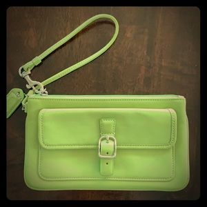Green Coach Leather Wristlet